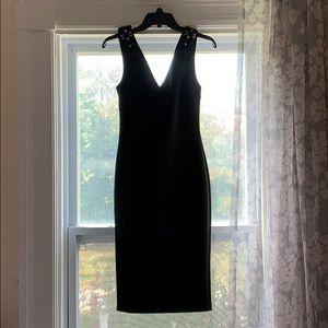 Ted Backer black bow shoulder v-neck dress